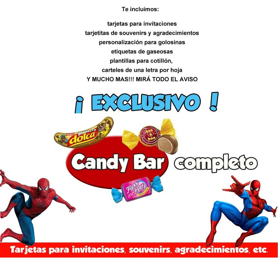 Kit Imprimible Hombre Araña Candy Bar Spiderman Cotillon 2x1